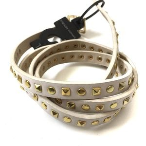Banana Republic Cream Gold Studded Skinny Belt L